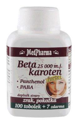 MedPharma Beta karoten 25 000 m.j. + Panthenol + PABA tob.107
