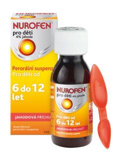 Nurofen pro děti 4% jahoda suspenze 100 ml 6–12 let